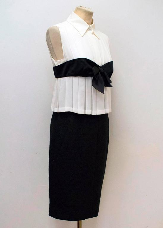 Chanel Black and Cream Dress with Black Bow Detail 3