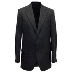Burberry Dark Grey Wool Blend Blazer Size 50