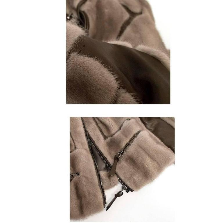 Barbara Bui Grey Mink Fur Jacket with Leather Panels In Good Condition In London, GB