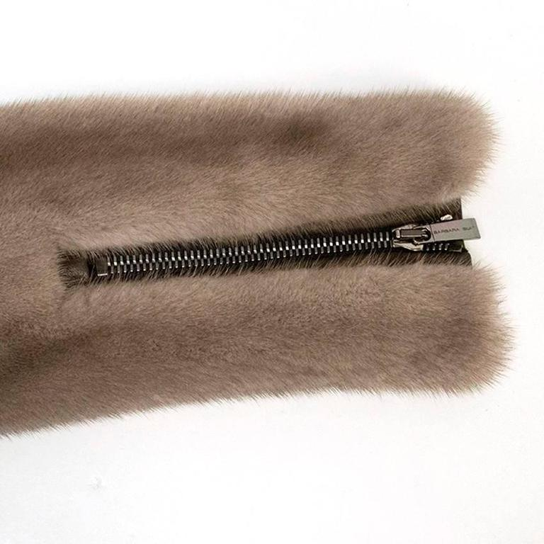 Women's Barbara Bui Grey Mink Fur Jacket with Leather Panels