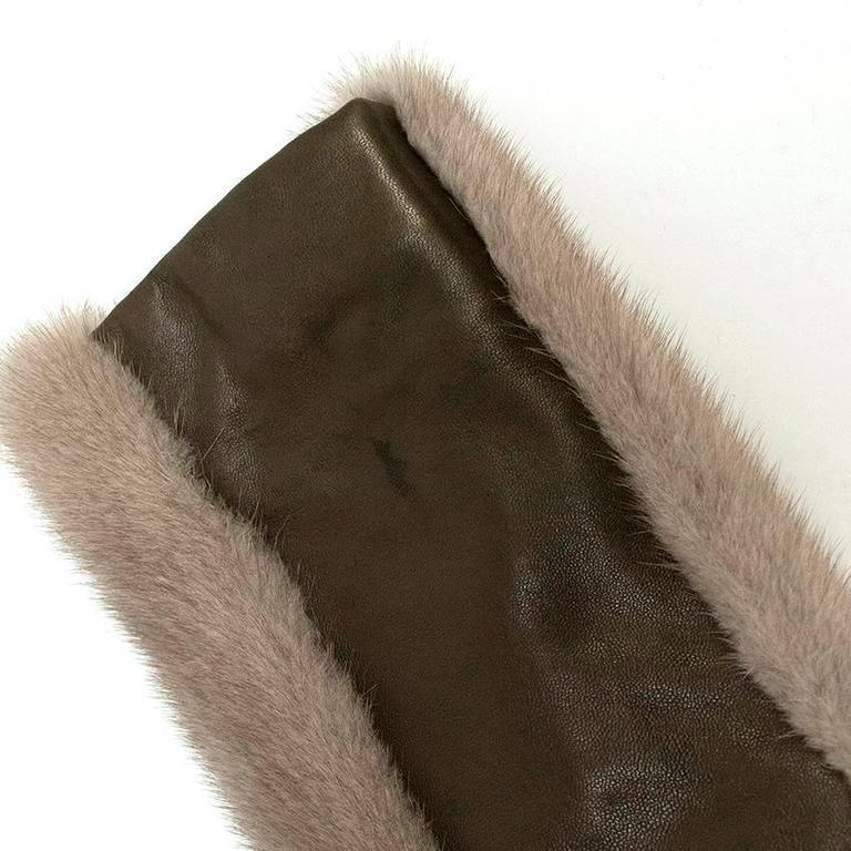 Barbara Bui Grey Mink Fur Jacket with Leather Panels 1