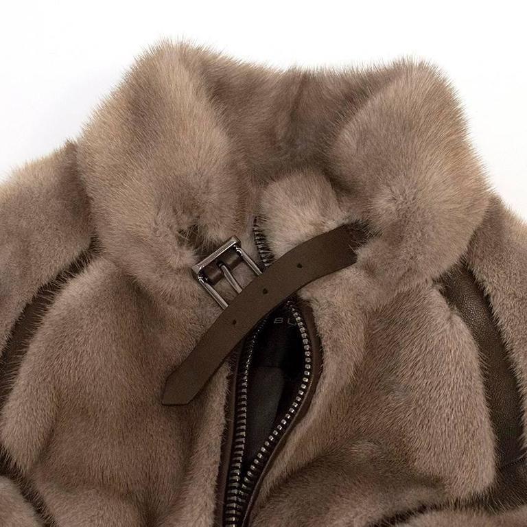 Barbara Bui Grey Mink Fur Jacket with Leather Panels 2