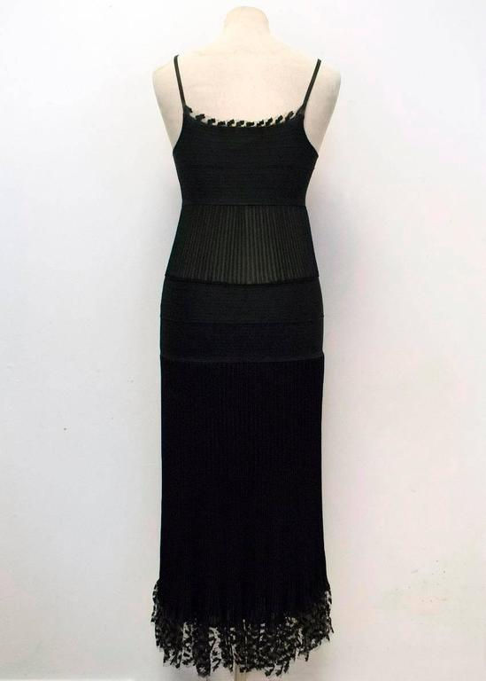 Chanel Black Ribbed Strappy Dress In Excellent Condition For Sale In London, GB