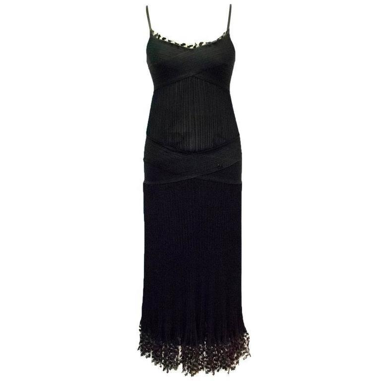 Chanel Black Ribbed Strappy Dress For Sale