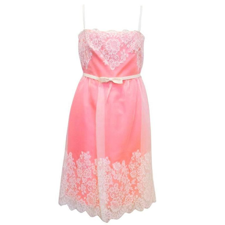 Valentino Pink Lace Overlay Dress - Size US 8 For Sale 1