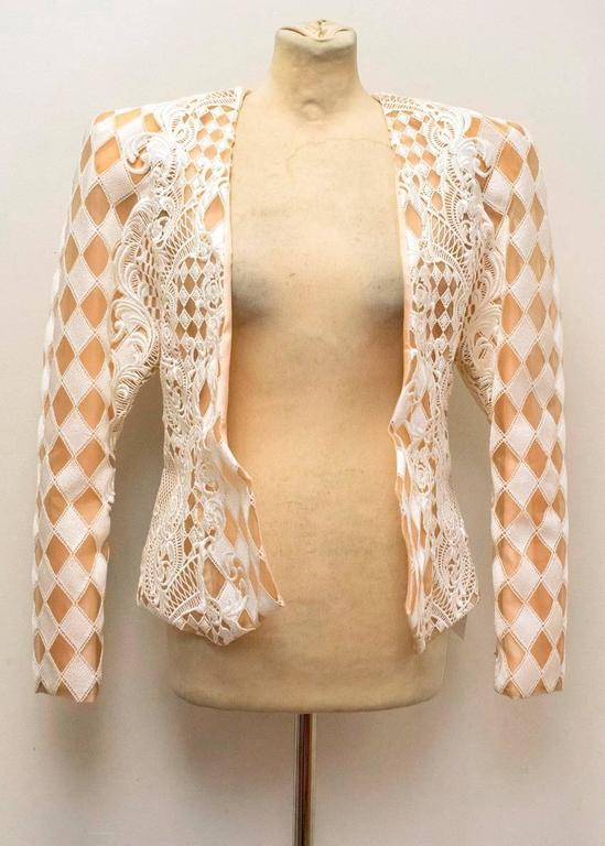 Balmain Nude and White Embroidered Jacket 3