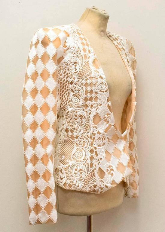 Balmain Nude and White Embroidered Jacket 8