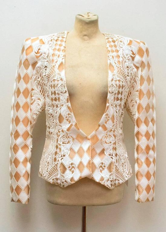Balmain Nude and White Embroidered Jacket 6