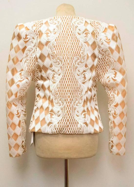 Balmain Nude and White Embroidered Jacket 2