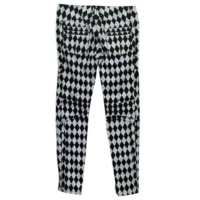 Balmain Black and Grey Harlequin Print Skinny Jeans 3