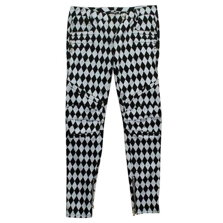 Balmain Black and Grey Harlequin Print Skinny Jeans 1
