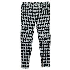 Balmain Black and Grey Harlequin Print Skinny Jeans
