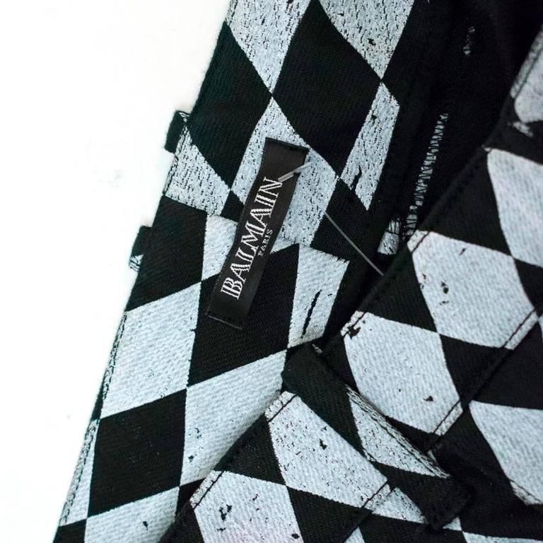Balmain Black and Grey Harlequin Print Skinny Jeans 9