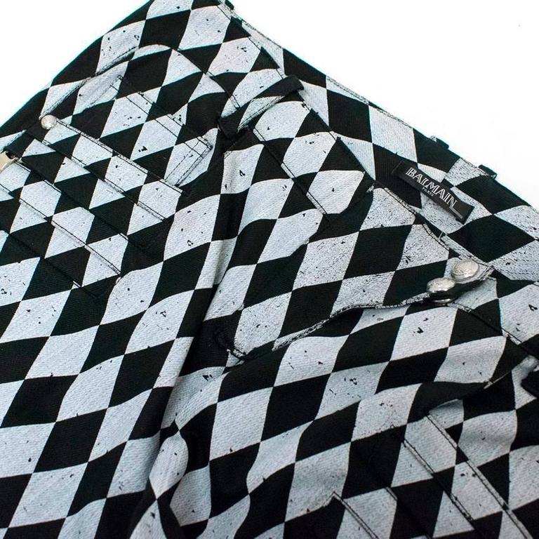 Balmain Black and Grey Harlequin Print Skinny Jeans 8