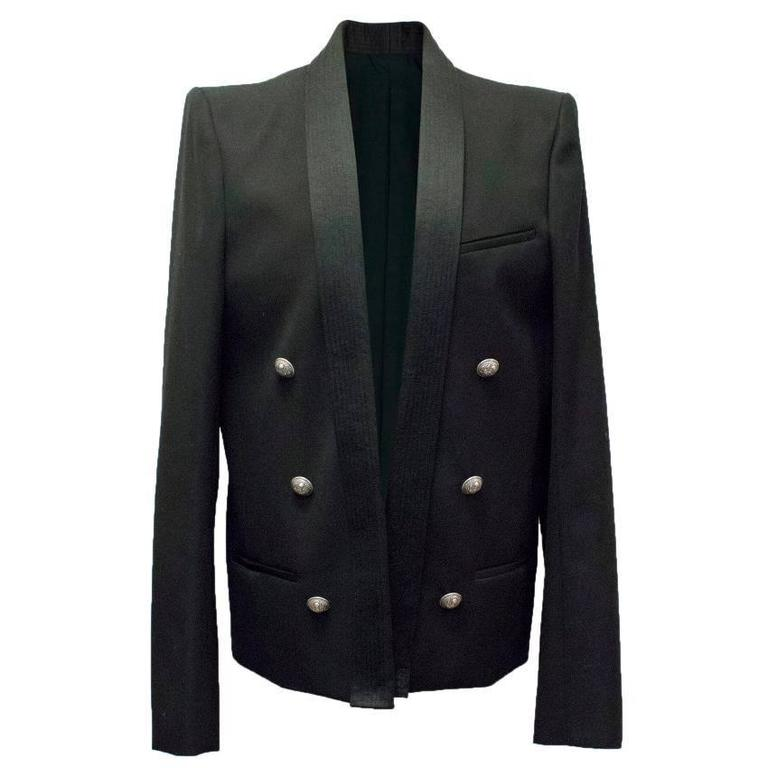 Balmain Black Military Style Jacket For Sale