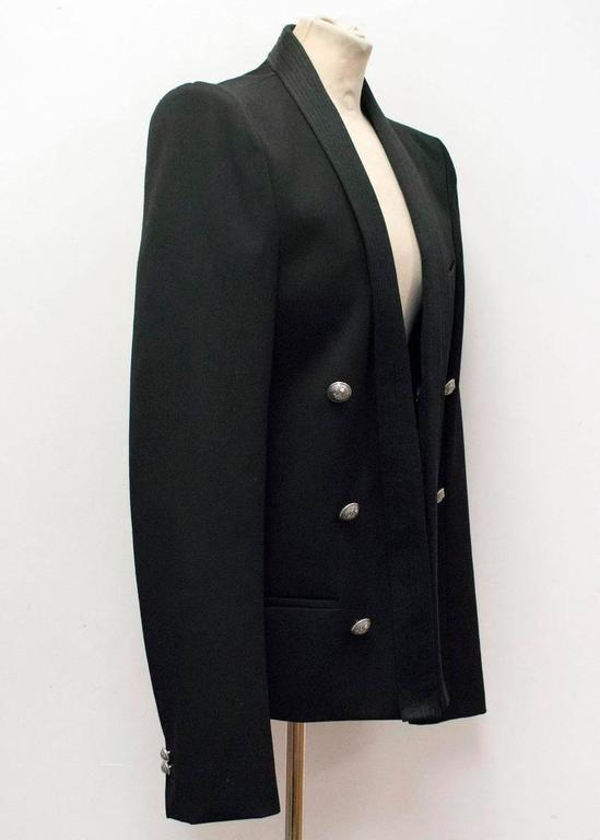 Balmain Black Military Style Jacket For Sale 3