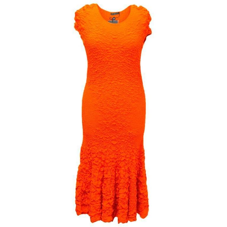 Alexander McQueen Bright Orange Textured Long Dress