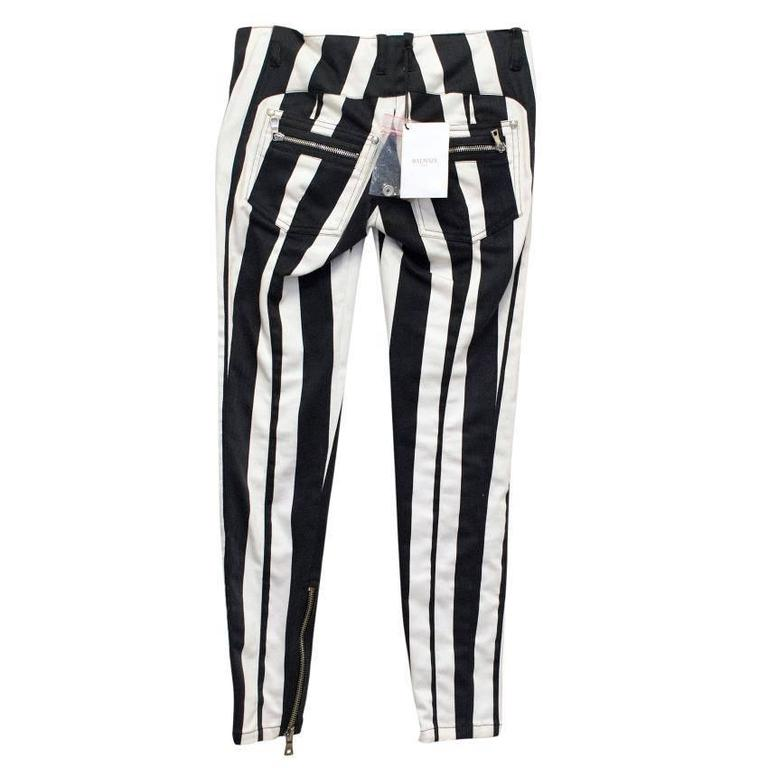 Balmain Black and White Striped Skinny Jeans 3