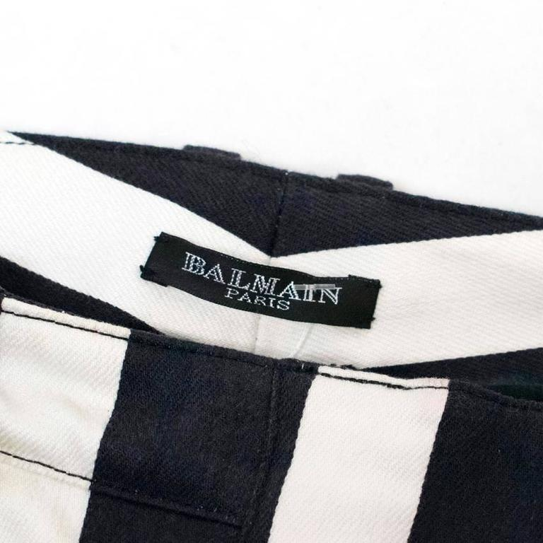 Balmain Black and White Striped Skinny Jeans 8