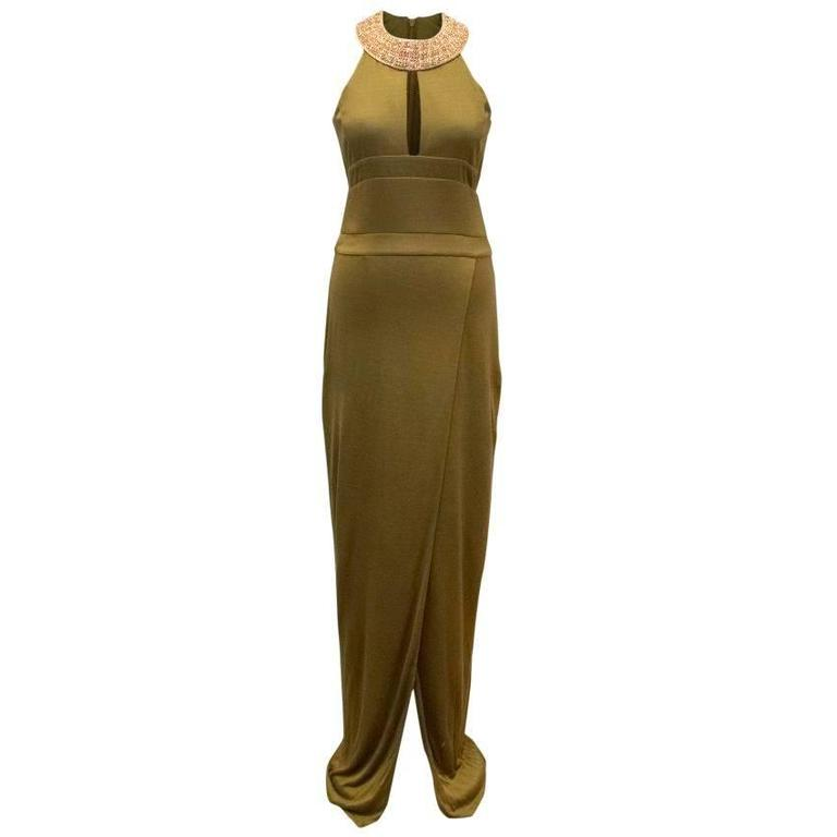 Balmain Khaki Fitted Gown with Gold Embellished Neckline