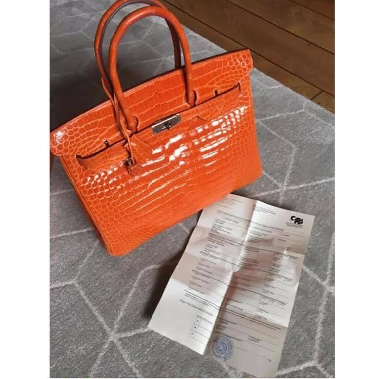 d368559cd0e Hermes Poppy Orange Crocodile Birkin 35 In New Condition For Sale In  London, GB