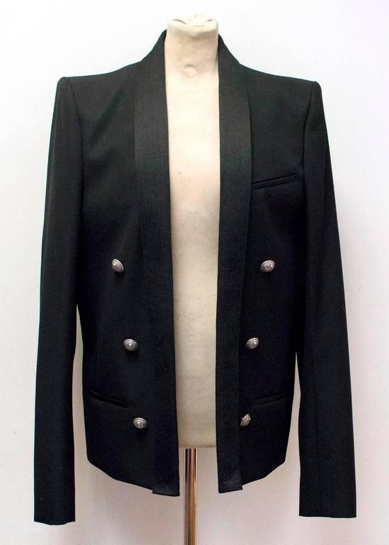 Balmain Black Military Style Jacket For Sale 2