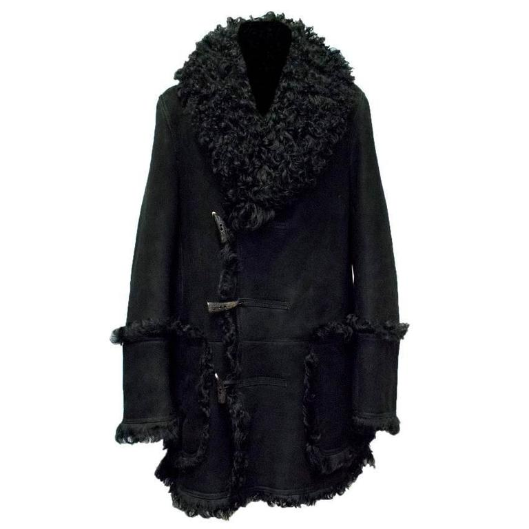 Burberry Mens Black Shearling and Suede Coat For Sale at 1stdibs