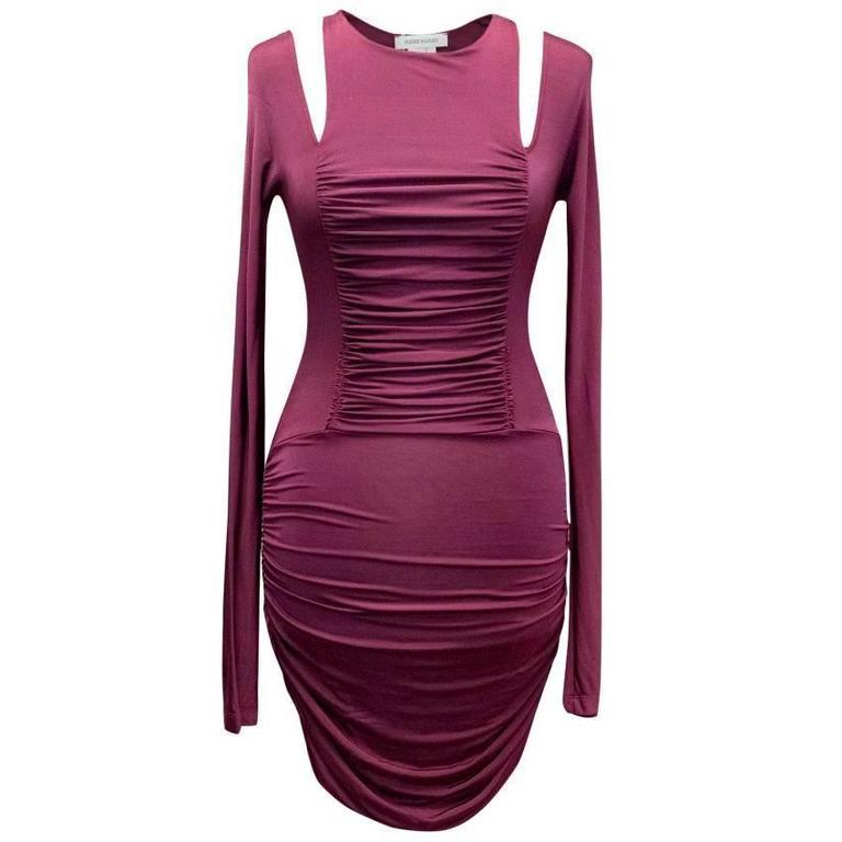 Pierre Balmain Ruched Purple Bodycon Dress
