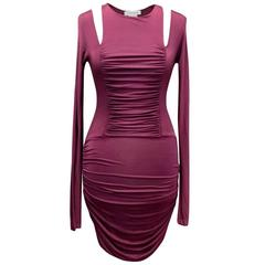 Pierre Balmain Ruched Purple Bodycon Dress