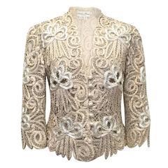 Eavis Brown Cream Silk Embroidered Jacket