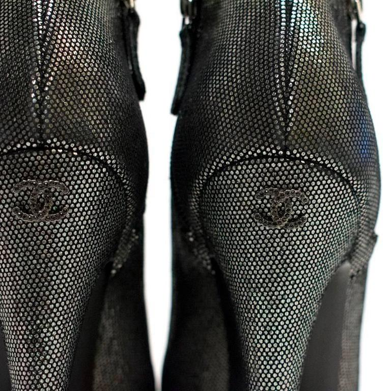 Chanel Metallic Ankle Boots 9