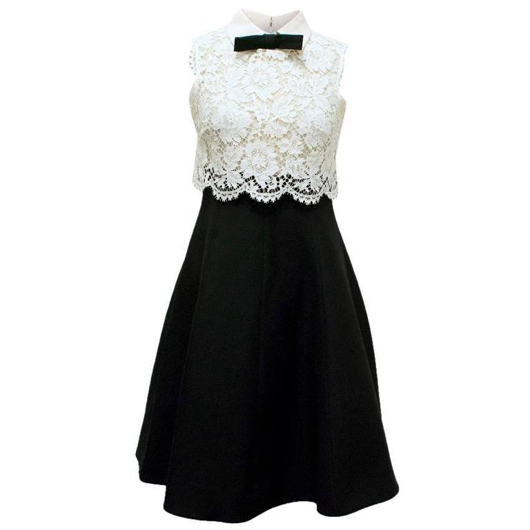 bd4d079f7038 Valentino Spa White Lace and Black Dress at 1stdibs