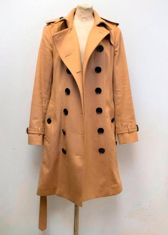 Burberry Sandringham Tan Cashmere Trench Coat For Sale