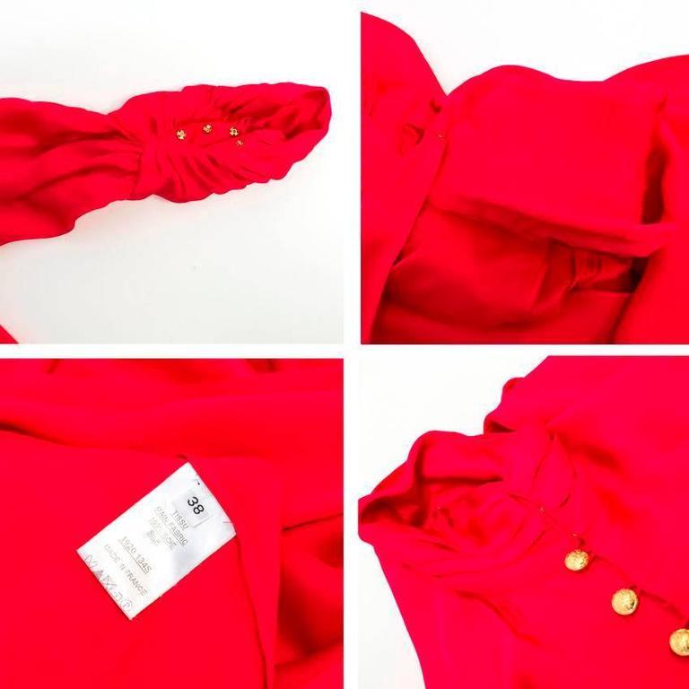 Balmain Fuchsia Silk Ruched High Neck Blouse For Sale 2