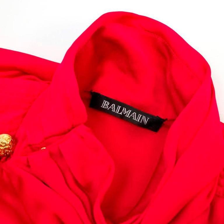 Balmain Fuchsia Silk Ruched High Neck Blouse For Sale 1
