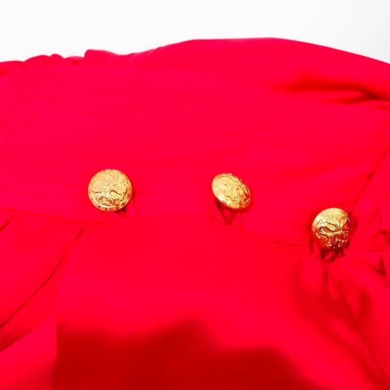 Balmain Fuchsia Silk Ruched High Neck Blouse For Sale 4