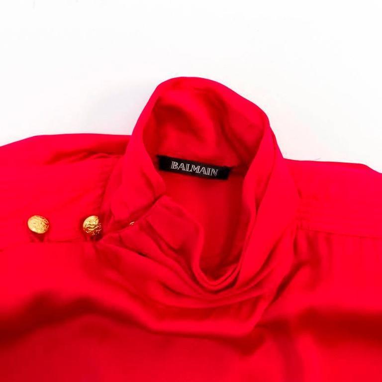 Balmain Fuchsia Silk Ruched High Neck Blouse For Sale 5