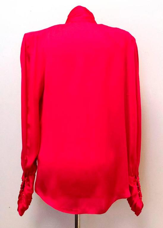 Balmain Fuchsia Silk Ruched High Neck Blouse In Excellent Condition For Sale In London, GB