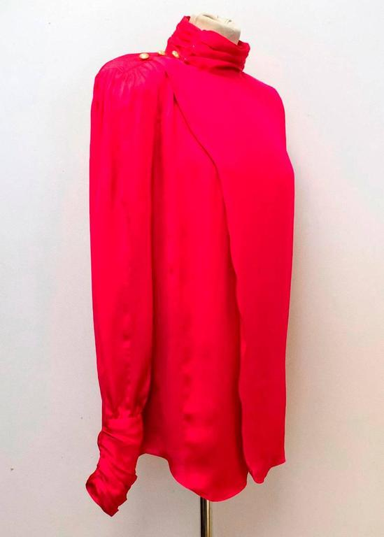 Red Balmain Fuchsia Silk Ruched High Neck Blouse For Sale