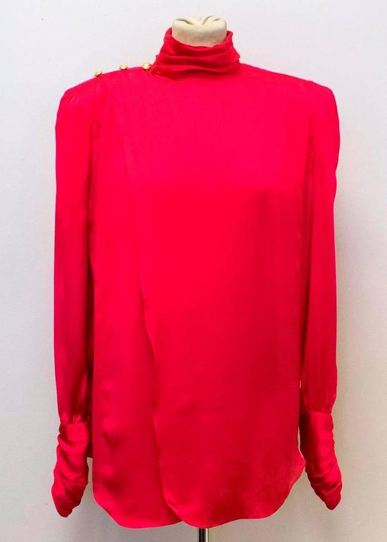 Women's Balmain Fuchsia Silk Ruched High Neck Blouse For Sale