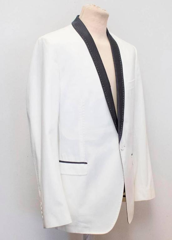 Gray Dolce and Gabbana White Dinner Jacket with a Bow Tie For Sale