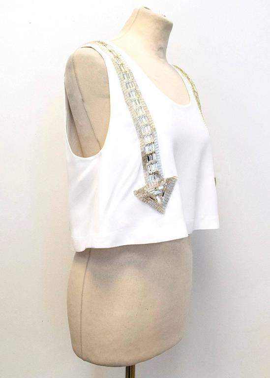 Chloe White Beaded Arrow Top For Sale 3