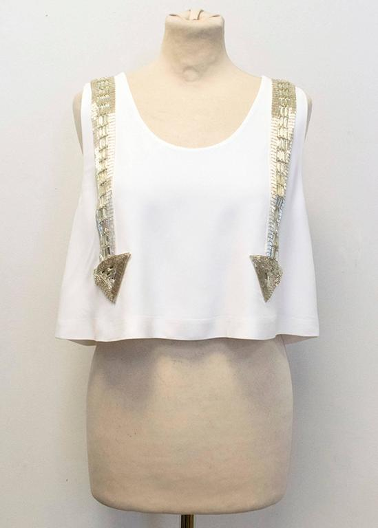 Chloe White Beaded Arrow Top For Sale 4