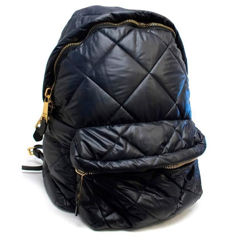 Moschino Black Oversized Quilted Backpack 4