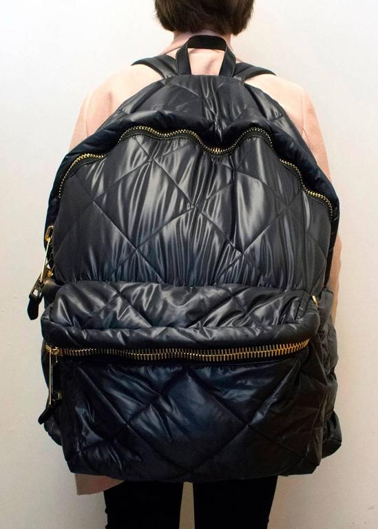 Moschino Black Oversized Quilted Backpack 5