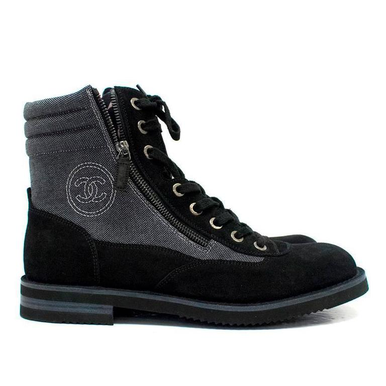 Chanel Men S Grey High Top Boots With Black Suede Trims
