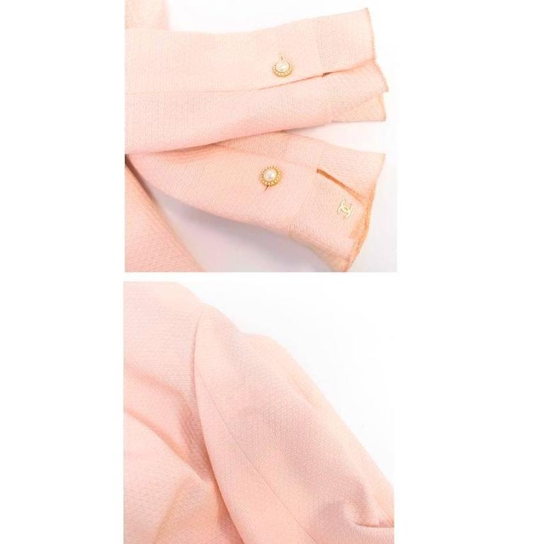 Chanel Nude Pink Jacket/Short Coat with Ruffled Cuffs and Hem  3