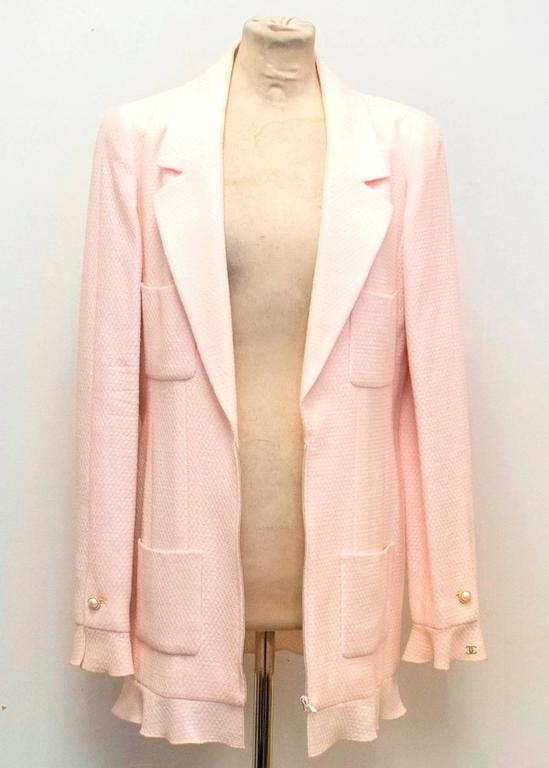 Chanel Nude Pink Jacket/Short Coat with Ruffled Cuffs and Hem  5