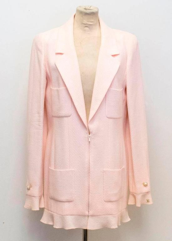 Chanel Nude Pink Jacket/Short Coat with Ruffled Cuffs and Hem  6