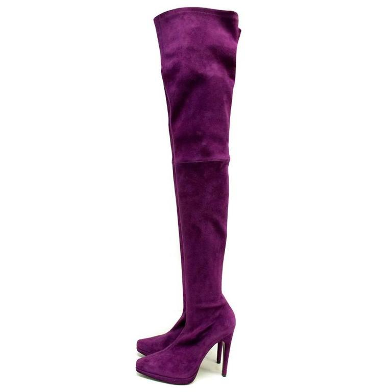 casadei suede purple thigh high sock boots for sale at 1stdibs